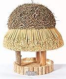 Hiss Reet® Vogelfutterhaus, Vogelhaus - mit Reetdach I Futterhaus für Vögel aus Eukalyptus Holz I Sylt I ideal für Balkon und Garten I wetterfest (S - ca. 30 cm Traufe)