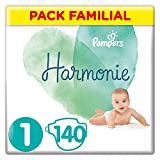 Couches Pampers Taille 1 (2-5 kg) - Harmonie Couches, 140 couches, Pack...