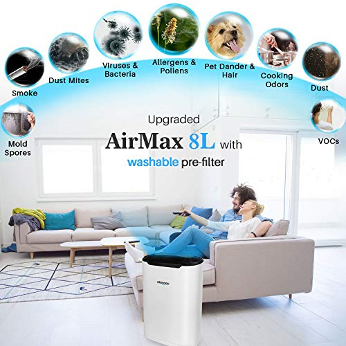 Okaysou AirMax8L Air Purifiers for Home Large Room, Ultra-Duo 2 Filters, H13 True HEPA Cleaner for Pets Hair Smokers Odors, Remove 99.97% Smoke Dust Pollen VOCs for Bedroom, 500+ Sq Ft, White