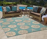 Gertmenian 21268 Nautical Tropical Outdoor Patio Rugs, 5x7 Standard, Sand Dollar Starfish Oasis Green