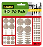 Scotch Felt Pads, Felt Furniture Pads for Protecting Hardwood Floors, Round, Beige, Assorted Sizes Value Pack, 162 Pads