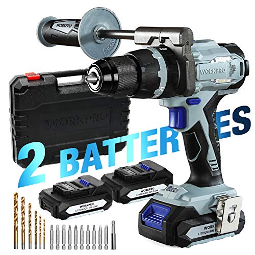 """WORKPRO 20V Brushless Cordless Drill, with 2 Batteries(2.0 Ah) and Auxiliary Handle, 487 IN-LBS 21+3 Torque Setting, 1/2"""" Chuck, 21 Pieces Drill Driver Kit with Hard Carrying Case"""