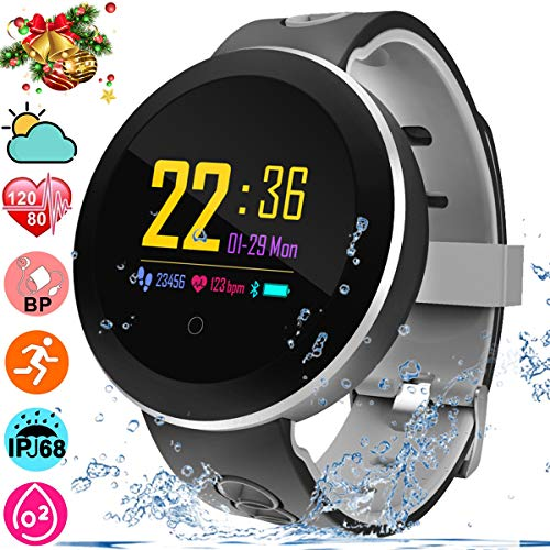 Sport Fitness Tracker with Blood Pressure Heart Rate Monitor, Smart Watch Activity Tracker Pedometer Calorie SMS Waterproof Smart Wristband Watch for Women Men Kids Valentine's Day Birthday Gift