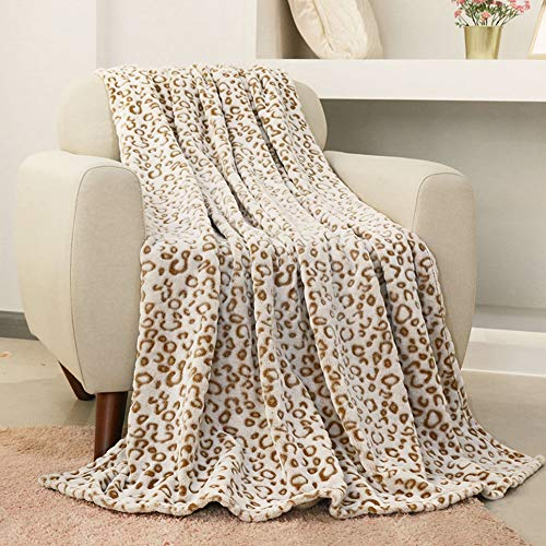 FY FIBER HOUSE Flannel Fleece Throw Blanket, Lightweight Cozy Plush Microfiber Bedspreads for Adults,60 by 80-Inch,Brown Leopard