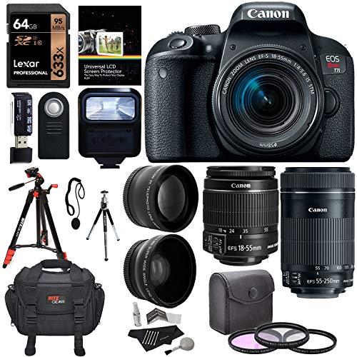 Canon EOS Rebel T7i EF-S 18-55 is STM DSLR Kit, EF 55-250mm STM, 64GB U3 Memory Card, Wide Angle, Telephone Lens, 48' Tripod and Accessory Bundle