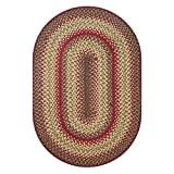 Cider Barn Premium Jute Braided Area Rug by Homespice, 20' x 30' Oval Red - Gold - Brown - Green, Reversible, Natural Jute Yarn Rustic, Country, Primitive, Farmhouse Style - 30 Day Risk Free Purchase