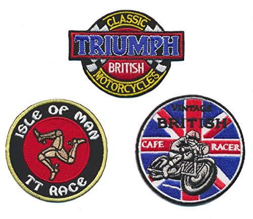 Cafe Racer Isle of Man Triumph Parche para Planchar Patch 3Pieza Motocicleta Biker Inglaterra