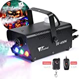 【2019 Upgraded】amzdeal Fog Machine, Portable Smoke Machine with LED Lights Equipped with Wired and Wireless Remote Control Suitable for Home, Party, Christmas, Halloween and Weddings (400W)