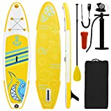 Ihomepark Sup Paddle Board, Double Layer Side Thickened Inflatable Standing Anti-Skid Paddle Board, Suitable for Paddling Fishing Surfing Yoga on The Water