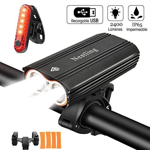 Nestling Luci LED per Bici, Luci Bicicletta LED Ricaricabili USB, 2400 lumens 4 modalit, Impermeabili IP65 Luce Bici Anteriore e Posteriore Super Luminoso Luce Bici LED per Bici Strada e Montagna