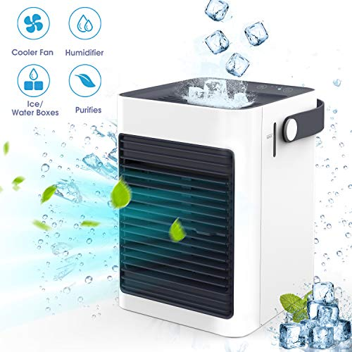 Chefavor Air Cooler, Portable Air Conditioner Mini Fan Personal Noiseless Evaporative Air Humidifier for Home Room Office Desktop Nightstand White