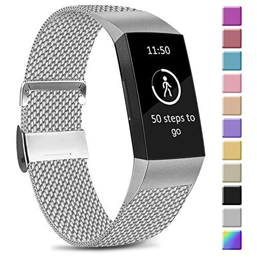 Amzpas Kompatible Für Fitbit Charge 3 Armband/Fitbit Charge 4 Armband, Metall Edelstahl Ersatzarmband Kompatibel mit Fitbit Charge 3/ Charge 4 (L, 01 Silber)