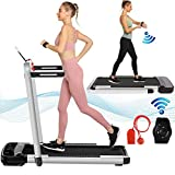 2 in 1 Folding Treadmill 2.25HP Under Desk Electric Treadmill with Remote Control & App,LED Display Walking Jogging Running Machine Exercise Fitness for Home/Office Installation Free (Silver Gray)
