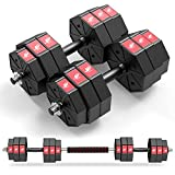 LEADNOVO Weights Dumbbell Barbell Set, 66Lbs/30KG 3 in 1 Adjustable Weights Dumbbells Set, Home Fitness Weight Set Gym Workout Exercise Training with Connecting Rod for Men Women
