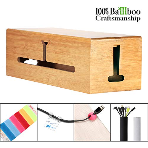 HomeBliss Bamboo Large Cable Box - Stylish Cord Organizer Cable Management Box for Cord Hider and Cord Management - Cable Organizer Box with Protector Cable Sleeve