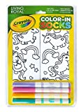 Crayola Kid's Color-in Socks - includes 1 Pair of Socks and 4 Fabric Markers by Living Royal - Unicorn Fun