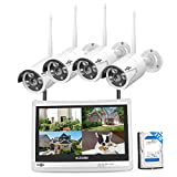 Hiseeu [8CH Expandable] All in one with 12' LCD Monitor Wireless Security Camera System, Home Business 8CH 1080P NVR Kit 4pcs 2MP Outdoor Bullet IP Cameras Night Vision Waterproof,3TB Hard Drive