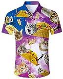 ALISISTER Camisa Hawaiana Hombre Camisetas de Manga Corta 3D Pizza Cat Prints Ugly Aloha Botón Blusa Vestido Fiesta de Vacaciones de Verano Ropa de Playa Ropa XL