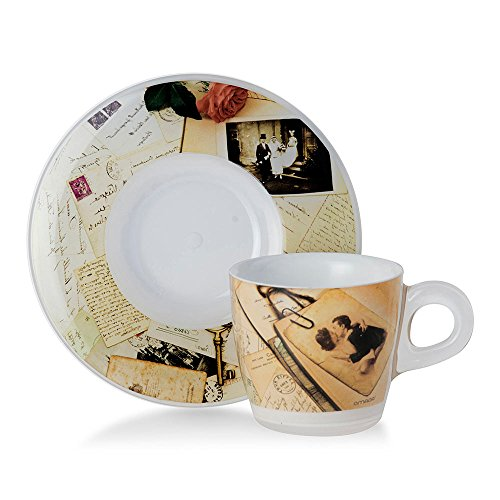 Omada design Set 4 Tazzine da Caff con Piattino, capacit 6 cl, in Plastica Infrangibile, Lavabili in...