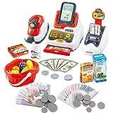 deAO Kit de supermarché avec Une Caisse enregistreuse avec Scanner, Une Carte de crédit, des Aliments, de l'Argent et des Accessoires d'épicerie – Jeu de rôle pour Enfants.
