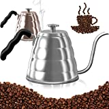 Pour Over Coffee Kettle with Thermometer-Flow Gooseneck Tea Kettles-Brew Barista-Standard Hand Drip Coffee Suitable all Stovetops and Induction,BPA Free, Carnival, Mother's Day Gifts, 40oz,Silver