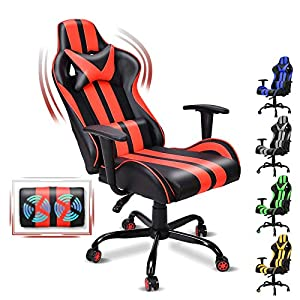 【Non-Footrest Version】Upgrade Model: Made of higher density foam and higher back(5cm higher) metal frame, which offering great stability.With omni-directional wheels, it can move flexibly in your room/office.This Gaming Chair can easily support up to...