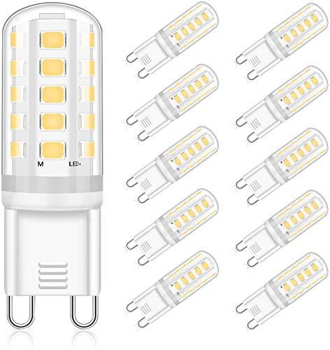 Lampadine LED G9 5W Equivalente Alogeno 30W 40W, Bianco Naturale 4000K, AC220-240V Non Dimmerabile G9 LED Lampade, Confezione da 10, Eco.luma