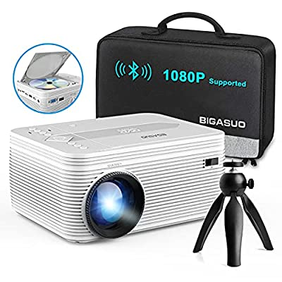 【HD 1080P Supported】BIGASUO Pro302 portable DVD projector with native 720P resolution (1280 x720) and 4000:1 contrast ratio. This ensures the image on the screen is projected clearly with strong, vibrant colors. 【Built in DVD PLAYER】2021 upgraded LED...