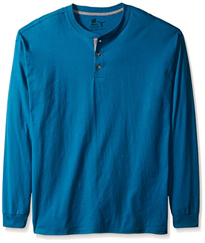 Hanes Men's Long-Sleeve Beefy Henley T-Shirt - Large - Petro Teal