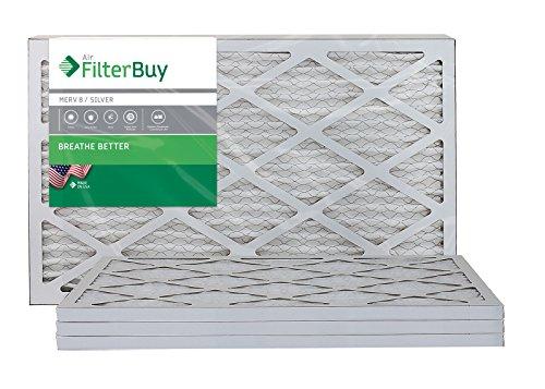FilterBuy 16x25x1 Air Filter MERV 8, Pleated HVAC AC Furnace Filter (4-Pack, Silver)