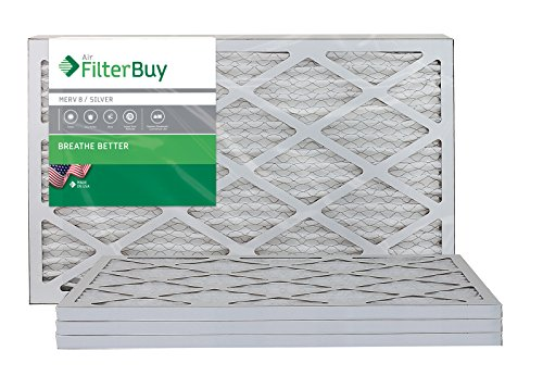 FilterBuy 16x25x1, Pleated HVAC AC Furnace Air Filter, MERV 8, AFB Silver, 4-Pack