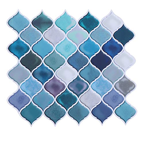 HUE DECORATION Peel and Stick Decorative Tile - Arabesque Design, Modern Turquoise Smart Tiles, Stick-On Backsplash...
