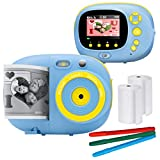 Sunny & Fun Crafty Cam   Best Gift for Boys Girls   Kids Instant Print Camera & Video Camcorder Bundle with 2.4' HD Screen, Selfie Mirror, Filters for Hours of Fun & Crafts - Blue