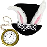White Rabbit Hat Costume Accessory with White Oversized Rabbit Clock Necklace. Halloween Costume Accessory for - Alice in Wonderland Costume, White Rabbit, Mad Hatter Costume, Hip Hop Rapper Clock