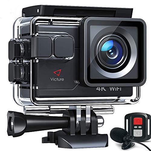 Victure Action Cam AC700 4K Wi-Fi 20MP Webcam con Controllo Remoto e Microfono Esterno Funzione EIS Antivibrazioni e Slow Motion, Due Batterie e Molteplici Accessori