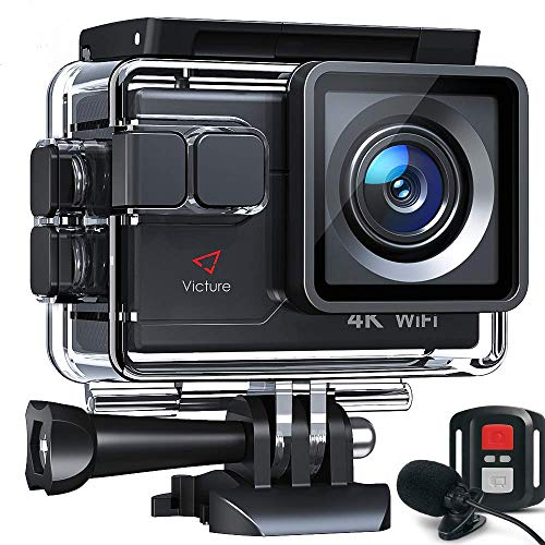 Victure Action Cam AC700 4K Wi-Fi 20MP con Controllo Remoto e Microfono Esterno Funzione EIS Antivibrazioni e Slow Motion, Due Batterie e Molteplici Accessori