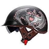 Helmets Skull Cap, Motorcycle Half Helmet for Men & Women with Sun Visor DOT Approved - Adult Unisex Skull Cap for Bike Scooter ATV UTV Chopper J,L:59-60CM