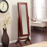 FastFurnishings Full Length Tilting Cheval Mirror Jewelry Armoire in Cherry Wood Finish