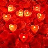9 Paquets Bougies en Forme de Coeur Bougie d'Amour Romantique Bougies Chauffe-Plat avec 200 Pièces Pétales de Rose en Soie Pétales de Dispersion Filles pour...