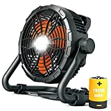 Floor Fan Battery Operated Outdoor Fan with Light High Velocity Cordless Jobsite Fan with DC12V Battery Pack Industrial Drum Floor Barn Warehouse Fan Heavy Duty Air Mover with Adjustable Tilt (X45)