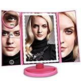 Ceenwes Upgrade Version Makeup Mirror 180°Trifold LED Vanity Mirror Adjustable Touch Screen Cosmetic Mirror with 36 LED Lights Lighted Makeup Mirror with 4 Magnification 1X/2X/3X/10X Mirrors