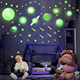HORIECHALY Glow in The Dark Stars and Planets, Solar System Wall Stickers-Including Sun, Moon, Planets, Dwarf Planets, etc.Ceiling Decals and Decoration Any Room—140 PCS.