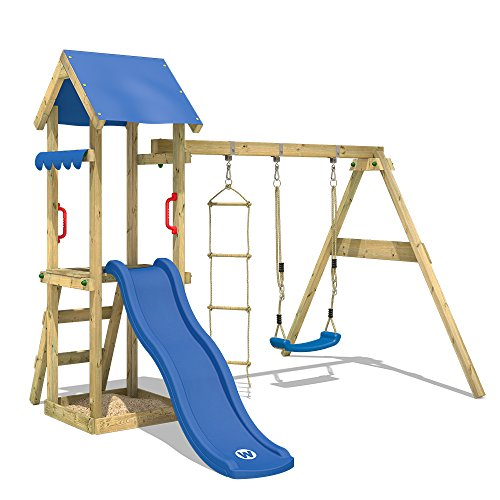 WICKEY Spielturm TinyCabin Kletterturm Spielplatz mit Schaukel und Rutsche, Sandkasten und Strickleiter, blaue Rutsche + blaue Plane