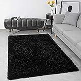 Modern Fluffy Large Area Rugs for Living Room Bedroom, Soft Shaggy Plush Long Fur Rug Kids Non-Slip Play Mats, Fuzzy Floor Carpets for Girls Room Dorm Nursery Indoor Decor, Black 3x5 Feet