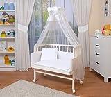 WALDIN Lit cododo berceau tout équipé pour bébé,bois blanc laqué,16...