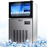 Commercial Ice Maker,100Lb/24H Portable Freestanding Automatic Ice Machine Under Counter Auto Clean for Restaurants Bars Bubble Tea Store with Scooper Connection Hose