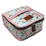 42-Bottle Essential Oil Carrying Case (5ml,10ml,15ml) with Plush Velvet Interior for doTERRA, Young Living Bottles for Aromatherapy Travel or Storage (Pink Floral)