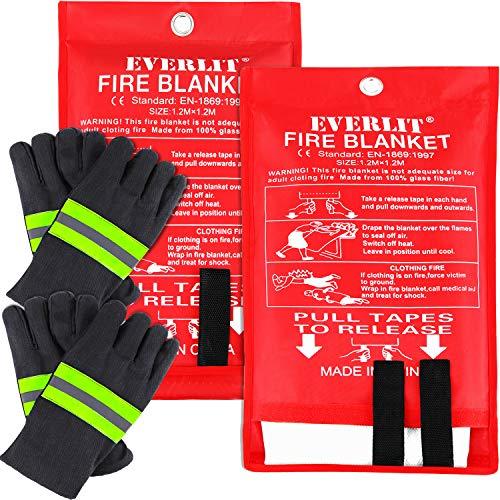EVERLIT [2-Pack] Fire Blanket Size XL 47''x47'' Fire Suppression Emergency Blanket w/Heat...