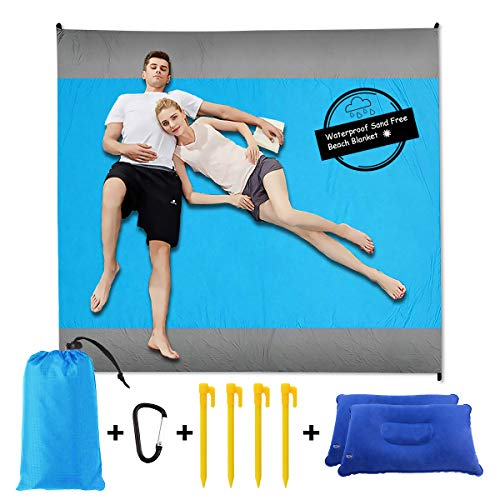 Sand Free Beach Blanket Mat - 8279 Include 2 pcs Inflatable PillowWaterproof Travel Hiking Camping Picnic Mat Outdoor Large Beach Blanket Sand Proof with Drawstring Carrying Bag - Blue