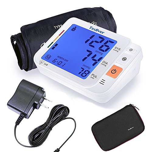 Tediver Digital Blood Pressure Monitor, Large Cuff 0.7-1.3 Feet - Automatic Upper Arm Blood Pressure Cuff Sets with Adapter and Device Case, Backlight LCD screen, 2 Year Warranty
